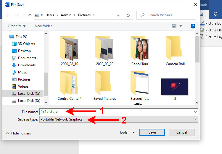Save your 1x1 picture from Microsoft Word