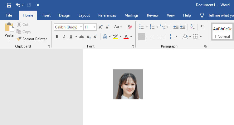 1x1 picture in Microsoft Word