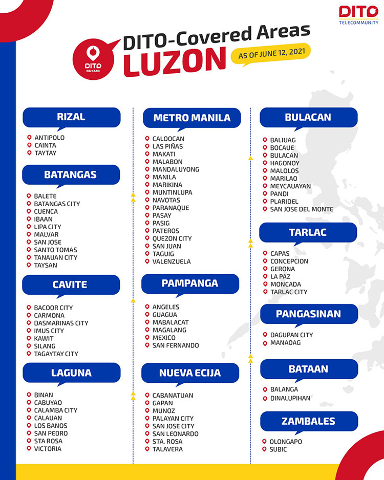 DITO Telecommunity available areas in Luzon