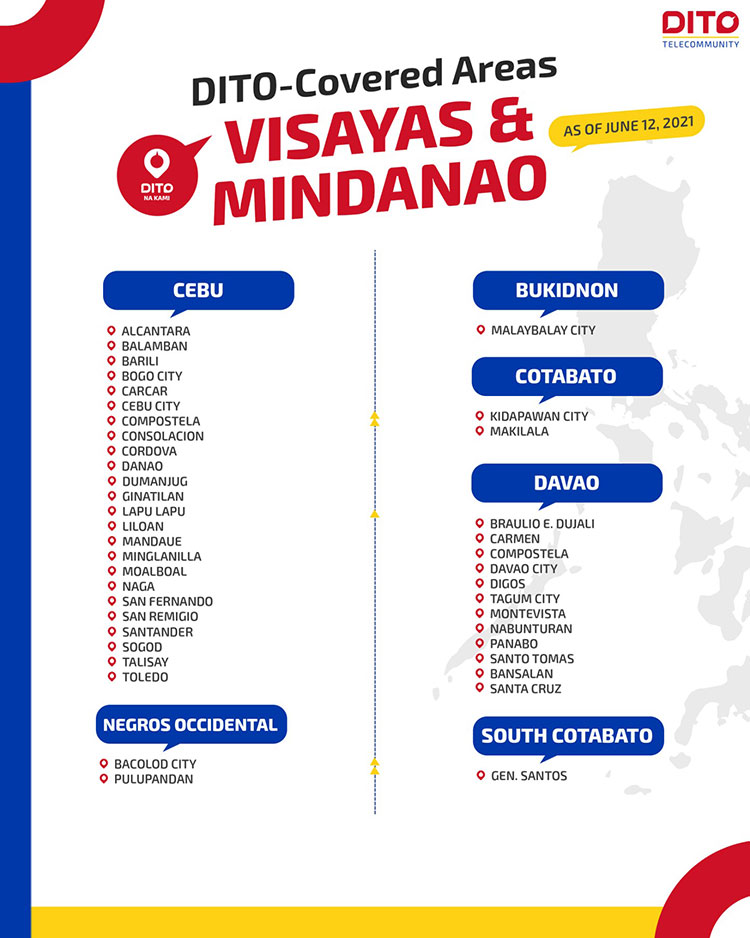 DITO covered areas in Visayas and Mindanao