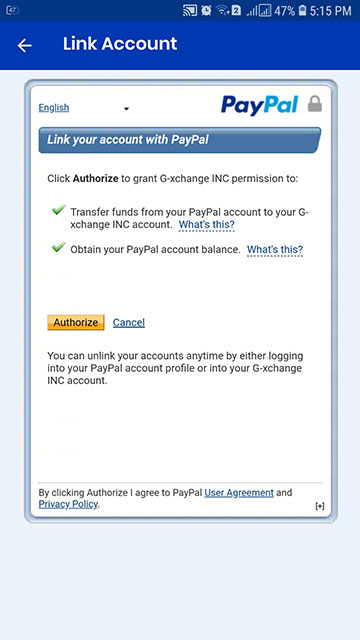 Link your account with PayPal