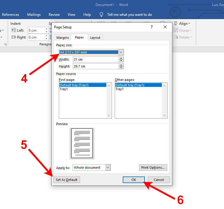 Make A4 the default size in Word