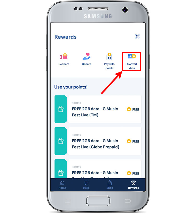 How to convert data to Globe Rewards points