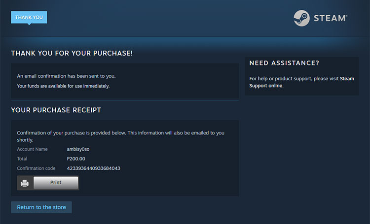 Buy Steam wallet funds using GCash