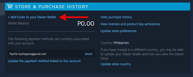 Add funds to your Steam wallet