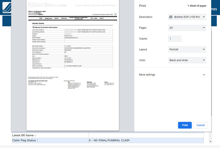 Print your SSS static information page